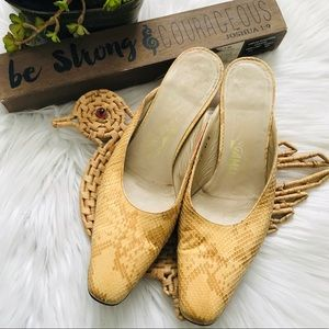 Salvatore Ferragamo Snake Skin Slide On Heels 6.5B